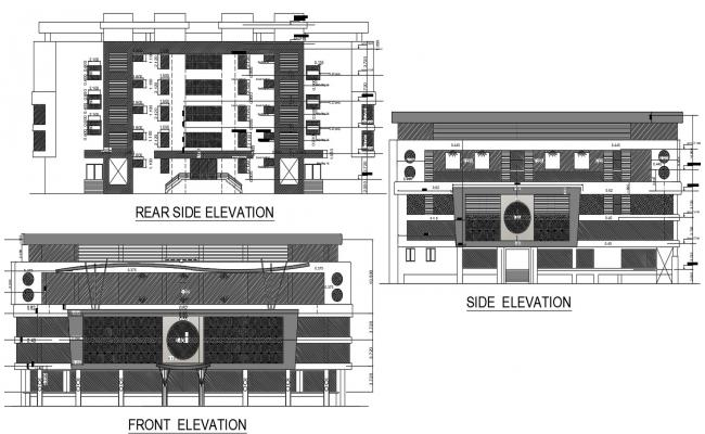 Architecture Shopping Mall Building Elevation Design AutoCAD File