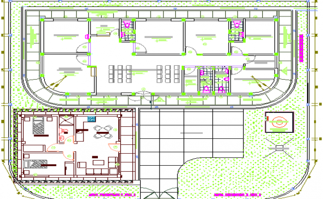 Architecture health post landscaping details dwg file