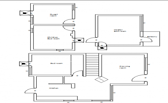 Architecture layout plan details of single family house dwg file
