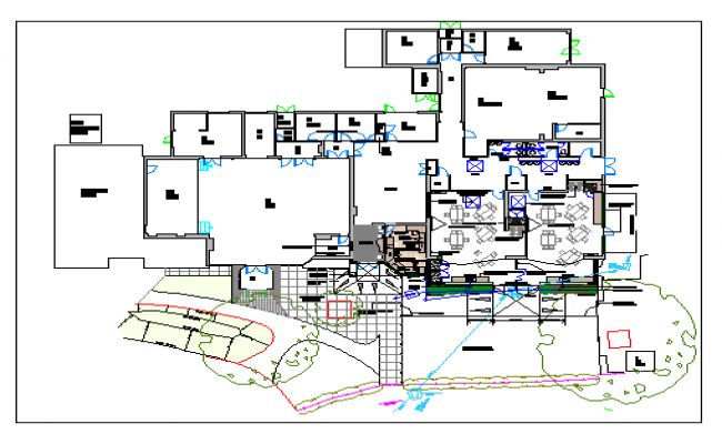 Architecture layout plan of school with landscaping dwg file