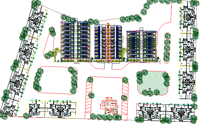 Architecture project of Multi-family residential apartment flats dwg file