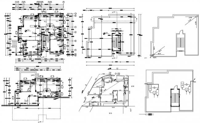 Architecture 3 BHK House Plan AutoCAD Drawing