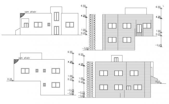 Architecture House Building Elevation Design DWG File