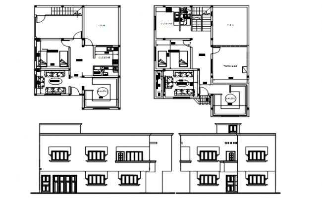 Architecural plan of the residential house with detail dimension in dwg file