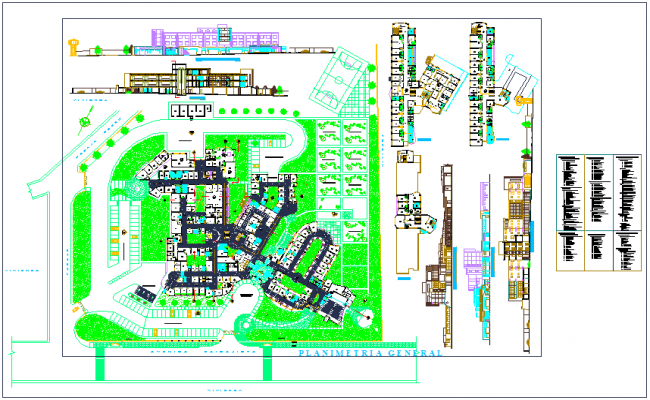 Area detail view of hospital landscape view with elevation view dwg file