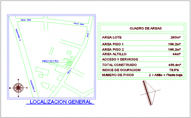 Area detail with simple location plan of housing with office area dwg file