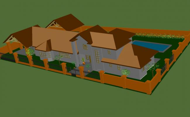 Arellano house 3 d plan autocad file