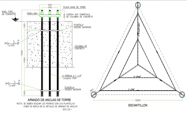 Armed tower anchors plan and section layout file