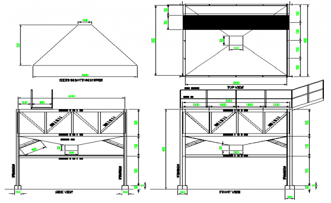 Arrangement hopper for solid architecture project dwg file