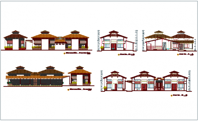 Artistic house elevation and different axis section view dwg file