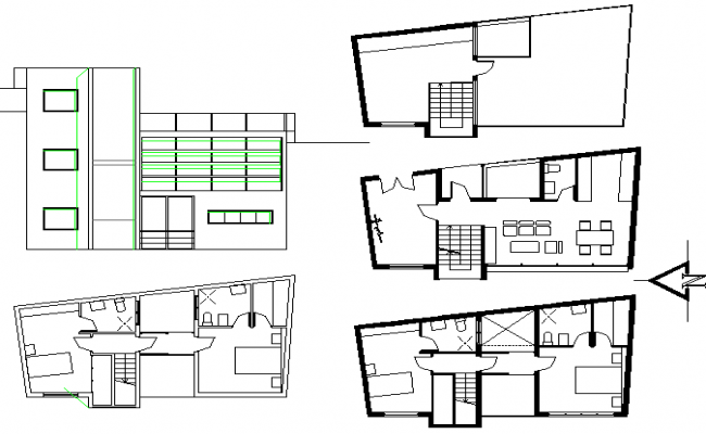 Artists house plan detail dwg file