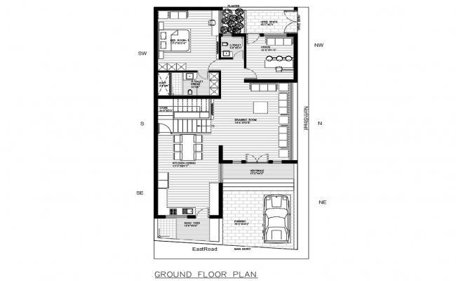 As per Vastu Bungalow Planning With Furniture AutoCAD File