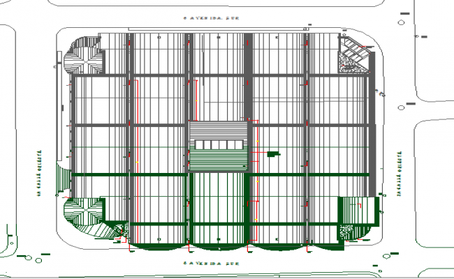 Assembly drawing plan details of shopping center dwg file