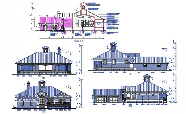Attic Bungalow Design Section and Elevation CAD file