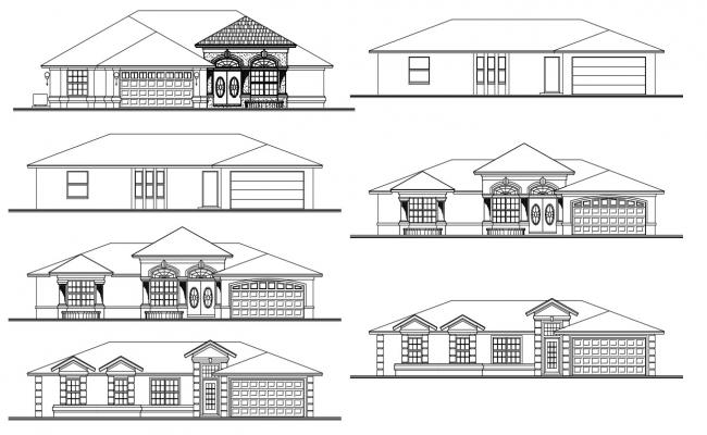 Attic Bungalow Elevation Design AutoCAD Drawing