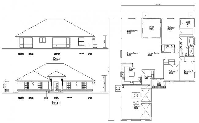 Attic Bungalow Elevation and layout Plan