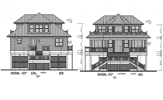 Attic House Elevation Design DWG File