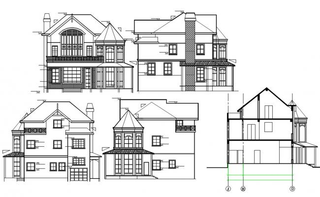 Attic House Section And Elevation AutoCAD Drawing
