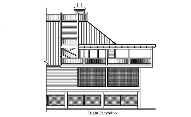 Attic House right Elevation Design DWG File