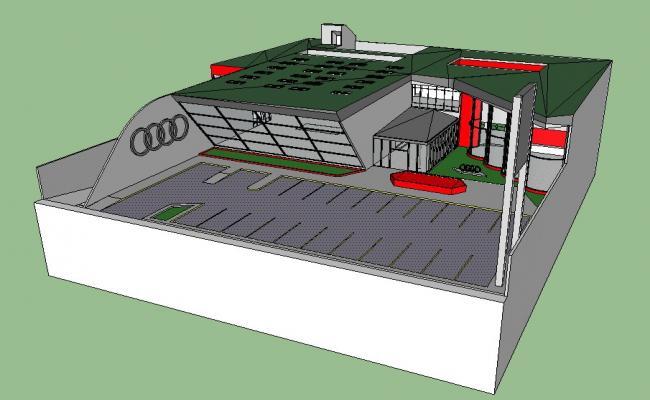 Audi agency showroom 3d building cad drawing details skp file
