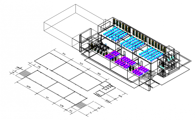 Auditorium, seminar hall 3d plan dwg file