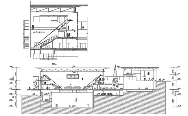 Auditorium Building Section CAD Drawing