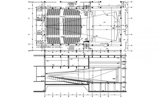 Auditorium Design Plan and Section CAD Drawing