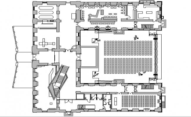 auditorium hall plan design dwg file