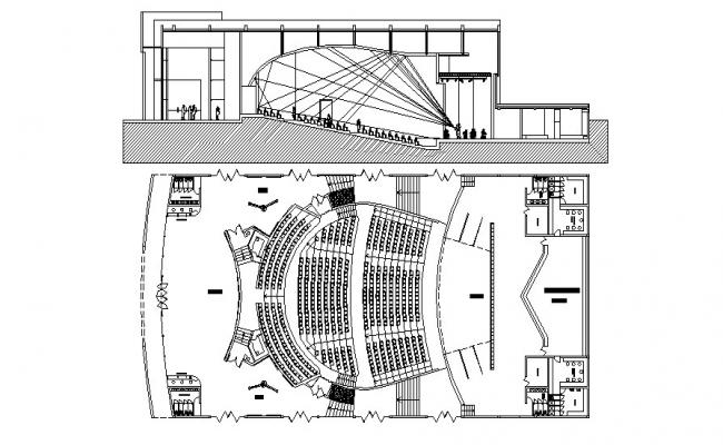 Auditorium Plan And Section DWG File