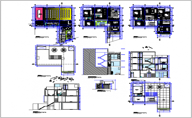 Auditorium building plan detail dwg file