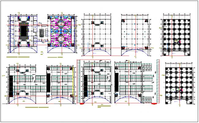 Auditorium hall center plan detail view dwg file