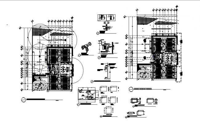 Auditorium hall distribution plan and water tank details dwg file