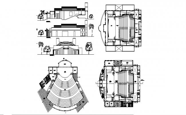 Auditorium hall of college elevation, section and distribution plan details dwg file