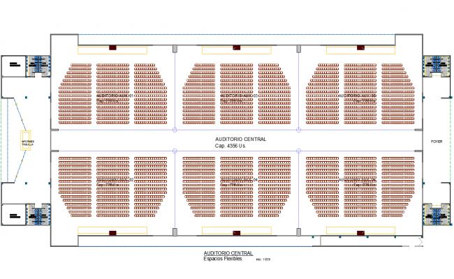 Auditorium hall plan dwg file