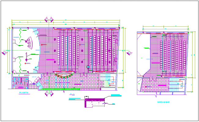 Auditorium plan with architectural view dwg file