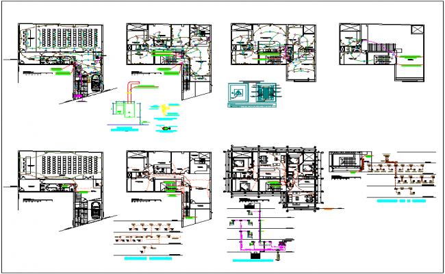 Auditorium structure detail dwg file