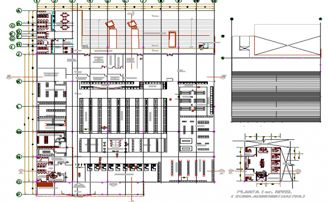 Auto service center architecture layout plan details dwg file