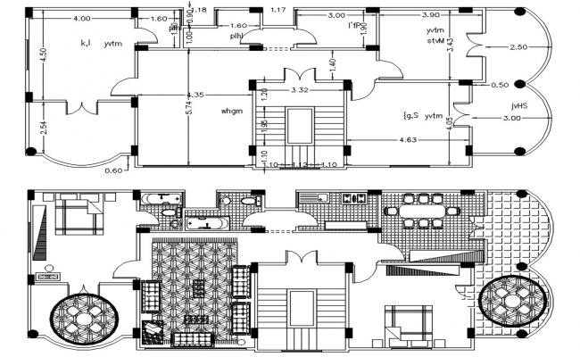AutoCAD 2 BHK House Plan With Dimensions