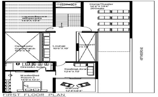 AutoCAD Drawing First Floor House Plan Furniture layout DWG