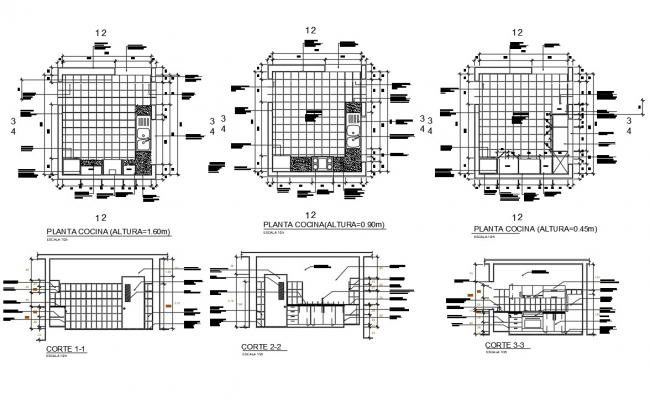AutoCAD Drawing OF Kitchen Interior Design With Flooring CAD File