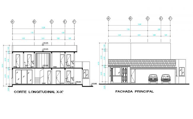 AutoCAD Drawing Of Bungalow Elevation And Section With Working Dimension CAD File