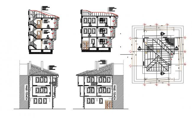 AutoCAD Drawing oF Two Story Bungalow Elevation Section And Roof Plan DWG File