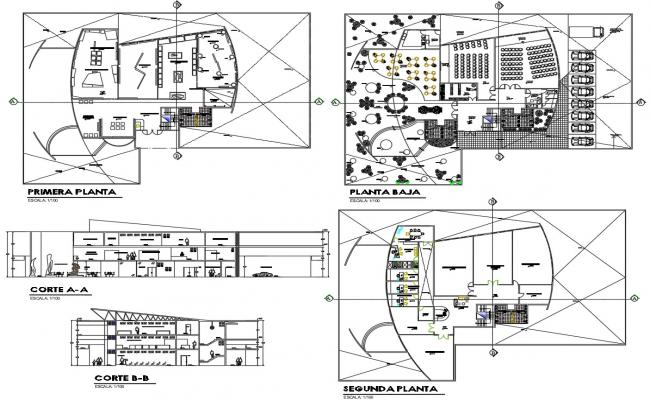 AutoCAD Floor Plans Of Public Building With Elevation And Section CAD File