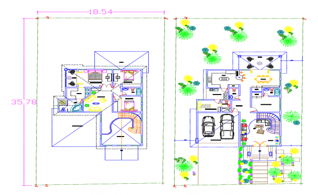 AutoCAD house plan with dimensions
