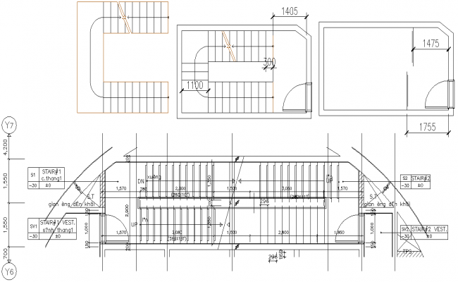 AutoCAD drawing files shows the detail of Staircase design details 2d drawings.Download the DWG file.
