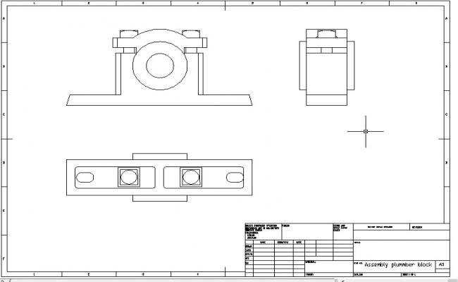 Autocad 2D assembly of plummber block drawing