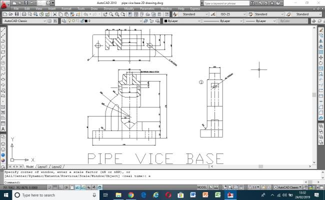 Autocad 2D drawing of mechanical pipe vice base