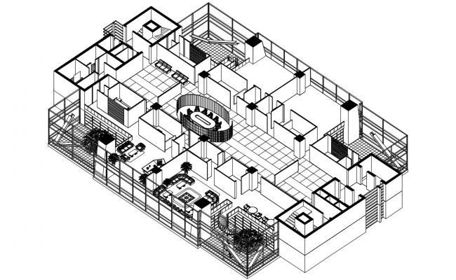 Autocad 3d Inside Design Of Commercial Building  Free Download