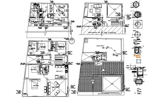 Modern Bungalow Design In AutoCAD File