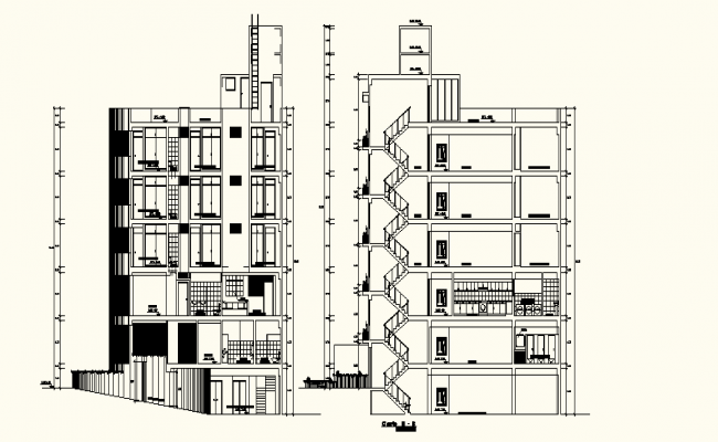 Autocad Drawing of Multi-storey building with different elevation